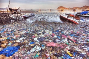 Plastic trash pollution on an Indonesia beach-- photo from Getty Images
